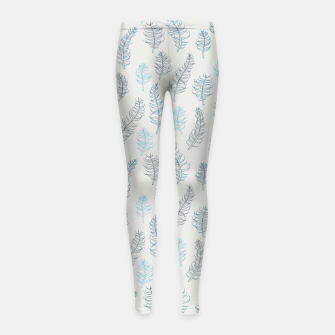 Thumbnail image of Whimsical grey leaf / feather pattern Girl's Leggings, Live Heroes