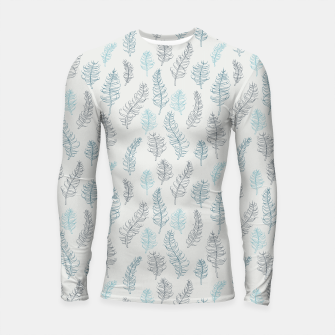 Thumbnail image of Whimsical grey leaf / feather pattern Longsleeve Rashguard , Live Heroes