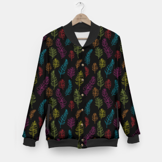 Thumbnail image of Bright colors on black whimsical feathers Baseball Jacket, Live Heroes