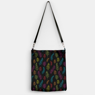 Thumbnail image of Bright colors on black whimsical feathers Handbag, Live Heroes