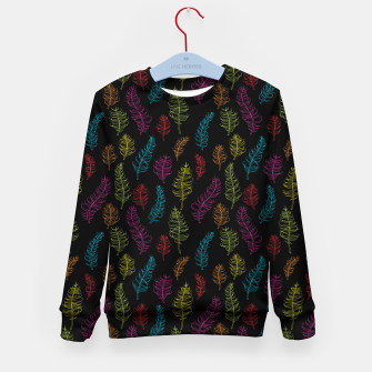 Thumbnail image of Bright colors on black whimsical feathers Kid's Sweater, Live Heroes