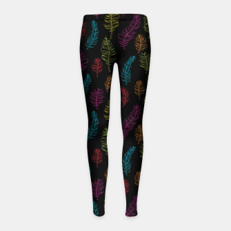 Thumbnail image of Bright colors on black whimsical feathers Girl's Leggings, Live Heroes