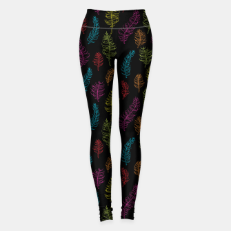Thumbnail image of Bright colors on black whimsical feathers Leggings, Live Heroes