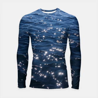 Sparkly Deep Blue Sea Waves Longsleeve Rashguard  thumbnail image