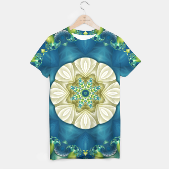 Thumbnail image of Poseidon's Rest Mandala in Turquoise and Ivory T-shirt, Live Heroes