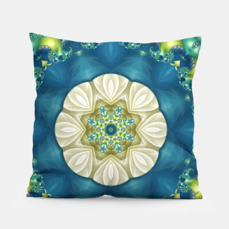 Thumbnail image of Poseidon's Rest Mandala in Turquoise and Ivory Pillow, Live Heroes