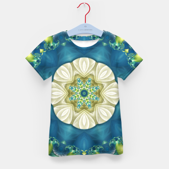 Thumbnail image of Poseidon's Rest Mandala in Turquoise and Ivory Kid's T-shirt, Live Heroes