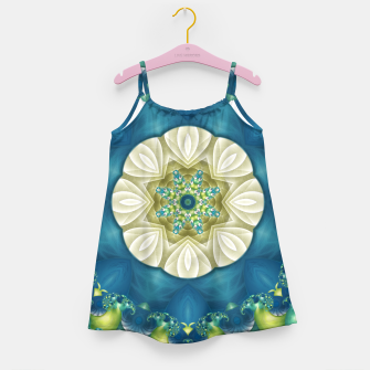 Thumbnail image of Poseidon's Rest Mandala in Turquoise and Ivory Girl's Dress, Live Heroes