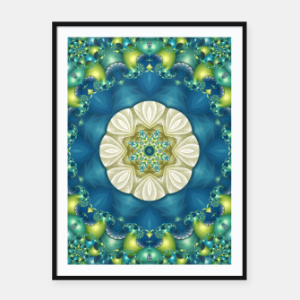 Thumbnail image of Poseidon's Rest Mandala in Turquoise and Ivory Framed poster, Live Heroes