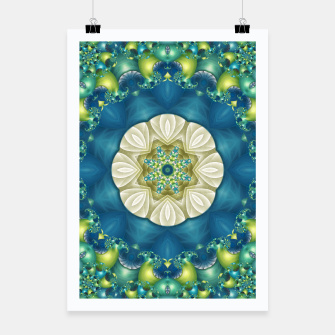 Thumbnail image of Poseidon's Rest Mandala in Turquoise and Ivory Poster, Live Heroes