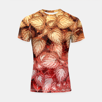 Thumbnail image of Lovely Leaves, in Red and Gold Shortsleeve Rashguard, Live Heroes