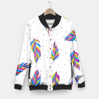 Miniatur Boho Feathers, bright with black and white background  Baseball Jacket, Live Heroes