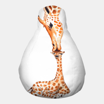 Miniaturka Mother Giraffe with baby, animal love, trendy design Pouf, Live Heroes