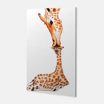 Miniaturka Mother Giraffe with baby, animal love, trendy design Canvas, Live Heroes