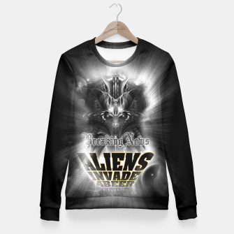 Thumbnail image of Aliens Invade 4 Beer Galaxy Attack FLMK Fitted Waist Sweater, Live Heroes