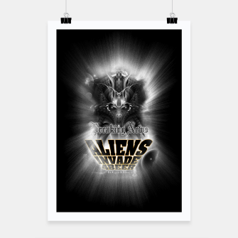 Thumbnail image of Aliens Invade 4 Beer Galaxy Attack FLMK Poster, Live Heroes