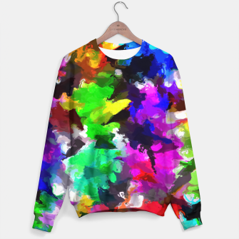Miniatur psychedelic splash painting abstract texture in pink blue green yellow red black Sweater, Live Heroes