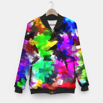 Miniatur psychedelic splash painting abstract texture in pink blue green yellow red black Baseball Jacket, Live Heroes
