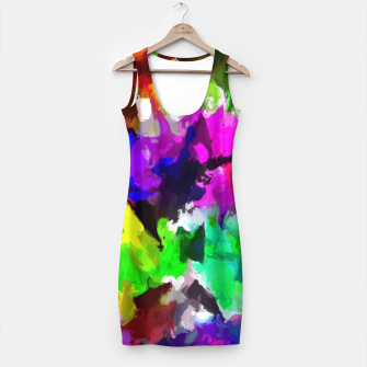 Thumbnail image of psychedelic splash painting abstract texture in pink blue green yellow red black Simple Dress, Live Heroes