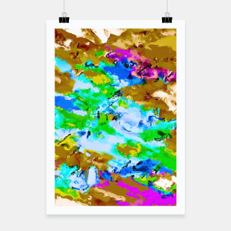 Thumbnail image of psychedelic splash painting abstract texture in brown green blue pink Poster, Live Heroes