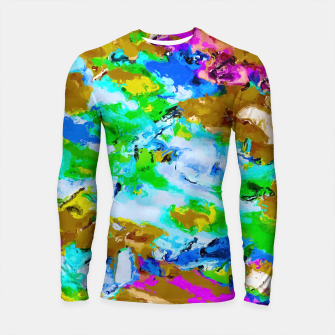 Thumbnail image of psychedelic splash painting abstract texture in brown green blue pink Longsleeve Rashguard , Live Heroes