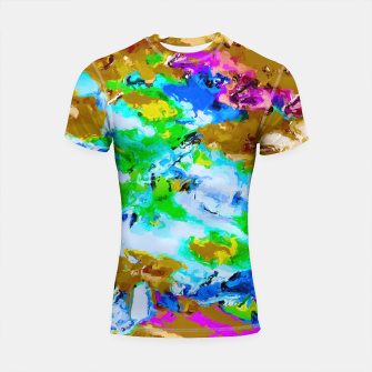 Thumbnail image of psychedelic splash painting abstract texture in brown green blue pink Shortsleeve Rashguard, Live Heroes