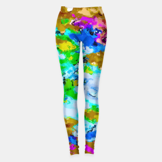 Thumbnail image of psychedelic splash painting abstract texture in brown green blue pink Leggings, Live Heroes