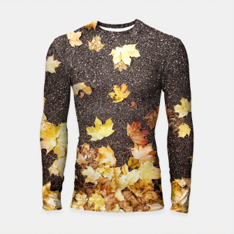 Thumbnail image of Gold yellow maple leaves autumn asphalt road Longsleeve Rashguard , Live Heroes