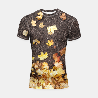 Thumbnail image of Gold yellow maple leaves autumn asphalt road Shortsleeve Rashguard, Live Heroes