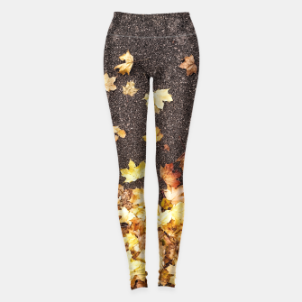 Thumbnail image of Gold yellow maple leaves autumn asphalt road Leggings, Live Heroes