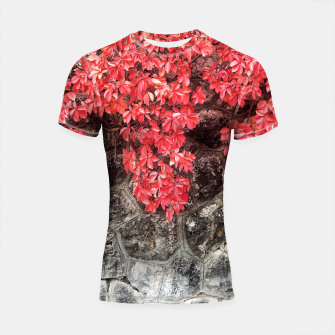 Thumbnail image of Red ivy leaves autumn stone wall Shortsleeve Rashguard, Live Heroes