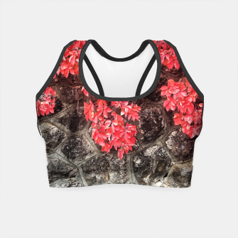 Thumbnail image of Red ivy leaves autumn stone wall Crop Top, Live Heroes