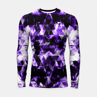 Thumbnail image of Electrifying purple sparkly triangle flames Longsleeve Rashguard , Live Heroes