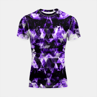 Thumbnail image of Electrifying purple sparkly triangle flames Shortsleeve Rashguard, Live Heroes