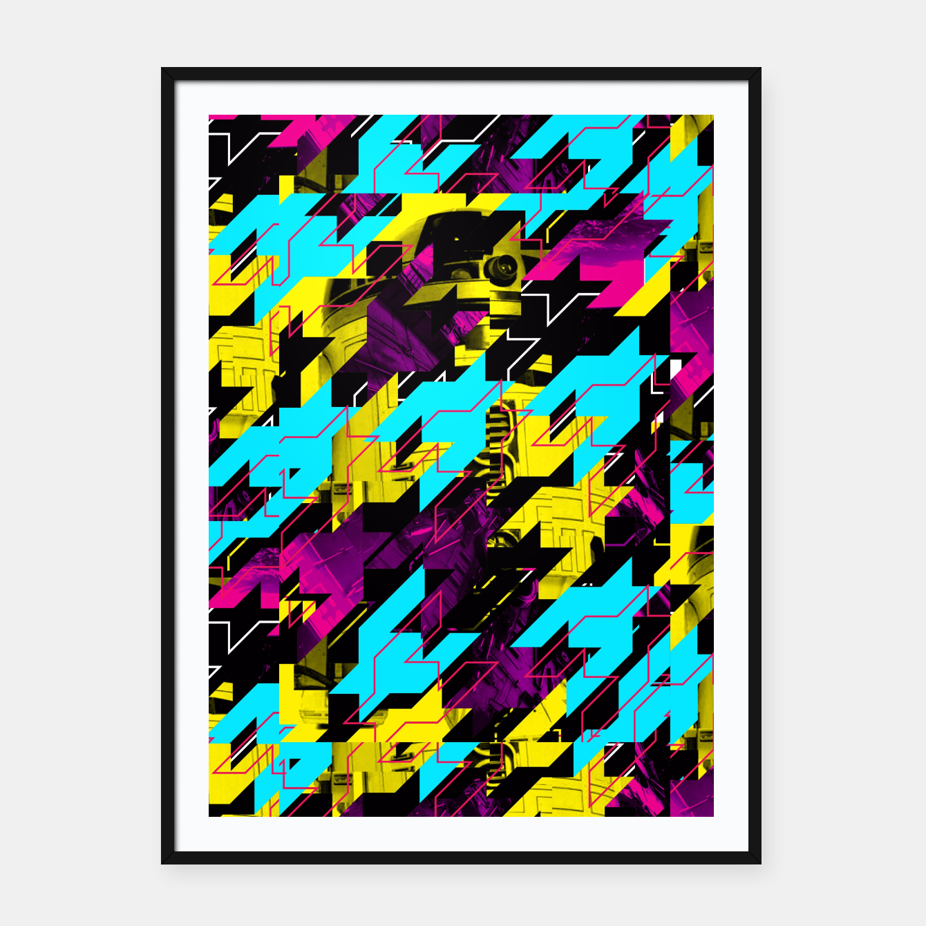 Image of HOUNDSTOOTH GEEK Framed poster - Live Heroes