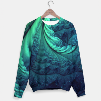 Miniaturka Abstract Blue Green Feathers Art Sweater, Live Heroes