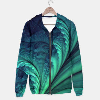 Miniaturka Abstract Blue Green Feathers Art Hoodie, Live Heroes