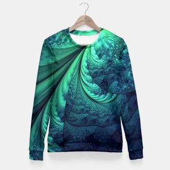 Miniaturka Abstract Blue Green Feathers Art Fitted Waist Sweater, Live Heroes