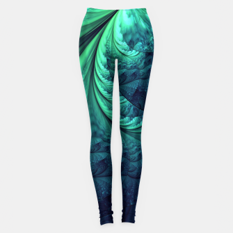 Miniaturka Abstract Blue Green Feathers Art Leggings, Live Heroes