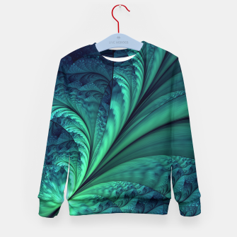 Miniaturka Abstract Blue Green Feathers Art Kid's Sweater, Live Heroes