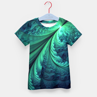 Miniaturka Abstract Blue Green Feathers Art Kid's T-shirt, Live Heroes