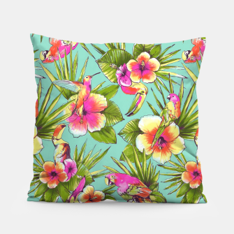 Thumbnail image of Parrots with flowers Pillow, Live Heroes