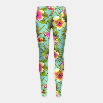 Thumbnail image of Parrots with flowers Girl's Leggings, Live Heroes