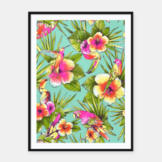 Thumbnail image of Parrots with flowers Framed poster, Live Heroes