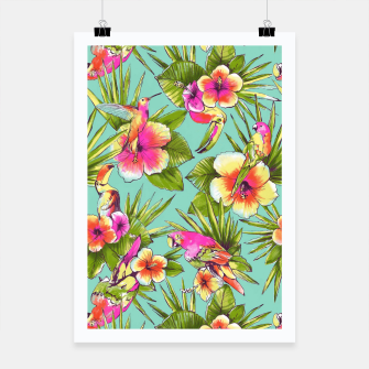 Thumbnail image of Parrots with flowers Poster, Live Heroes