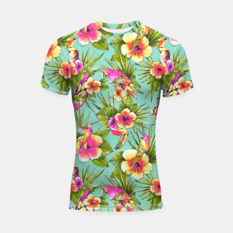 Thumbnail image of Parrots with flowers Shortsleeve Rashguard, Live Heroes