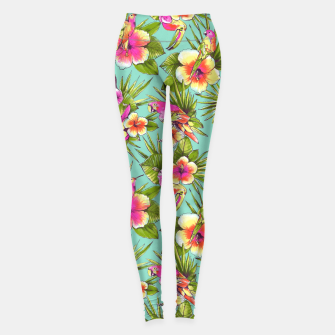 Thumbnail image of Parrots with flowers Leggings, Live Heroes