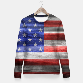 Thumbnail image of American Grunge Flag Fitted Waist Sweater, Live Heroes