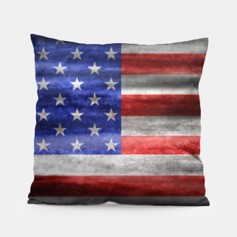 Thumbnail image of American Grunge Flag Pillow, Live Heroes