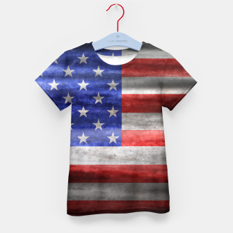Thumbnail image of American Grunge Flag Kid's T-shirt, Live Heroes